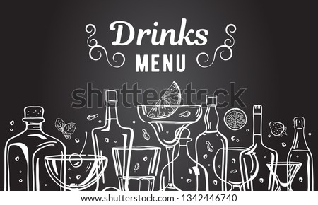 Vector outline hand drawn illustration with alcohol bottles and glasses with drinks on blackboard background. Menu design template