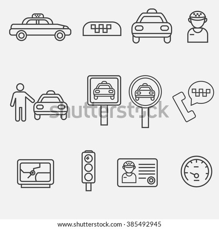Vector outline icon of taxi. Taxi services outline icon. Taxi outline icon. taxi car, taxi cab, taxi driver, taxi on the phone.