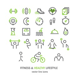 Vector outline icons set - sport, yoga, fitness and health made in trendy linear style isolated on white background.
