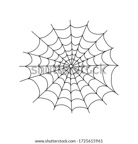 Vector outline illustration of a simple fancy Halloween spider web, isolated object on the white background, clipart useful for halloween party decoration, hand drawn image, cartoon spooky character