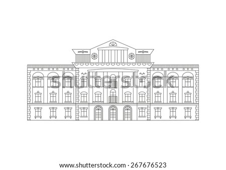Vector outline illustration of building Facade. Historical mansion viewed from front elevation isolated on white background. Coloring book page for adults and children. Black outline on white. ストックフォト ©