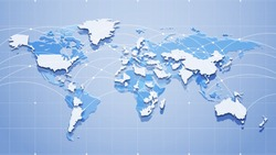 Vector outline image of planet Earth with continents and countries. Economic ties. Global communication system and the Internet. Blue technological background. 3D effect and perspective.