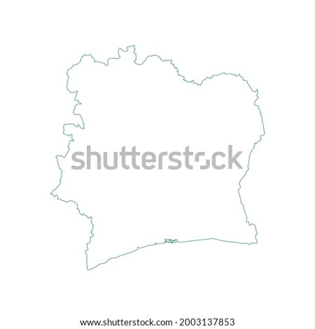 Vector outline map of Côte d'Ivoire isolated on white background. Photo stock ©