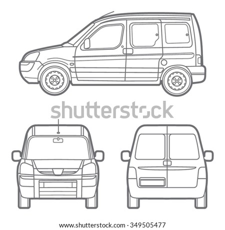 vector outline minivan