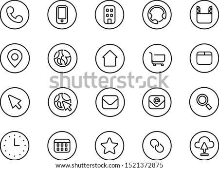 Vector outline monocolor icon pack in one geometry style for your business There are base icons, like phone, web, mail, cloud, search, time, calendar, adress, shop and etc. Photo stock ©