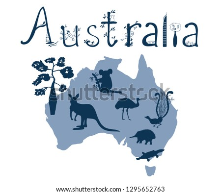 Vector outline of Australia with Australian animals silhouettes and a hand-drawn word of Australia