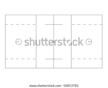 Vector outline of lines on a lacrosse field.