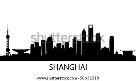 vector outline of Shanghai, China