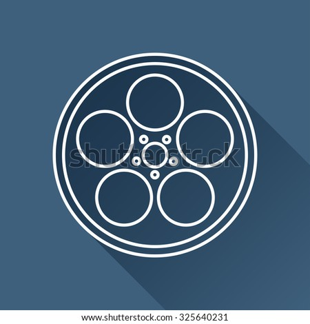 Vector outline retro bobbin icon on dark blue background with long shadow  #325640231