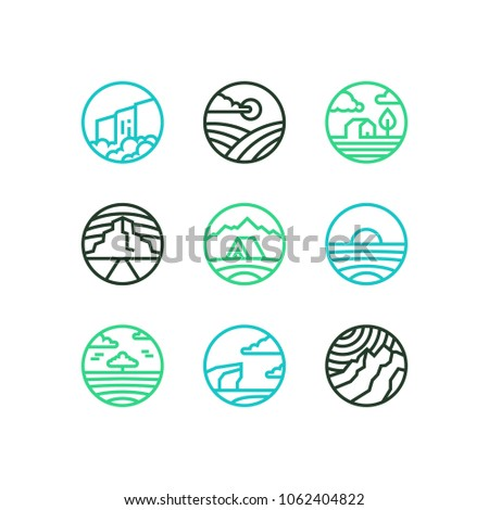 Vector outline set of nature logos. Line art eps10 landscapes with waterfall, sea, mountains, field and wood.