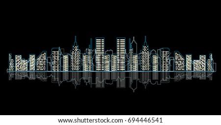 vector outline skyline
