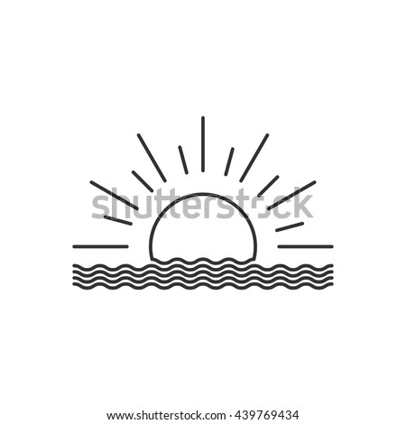 vector outline sunset or