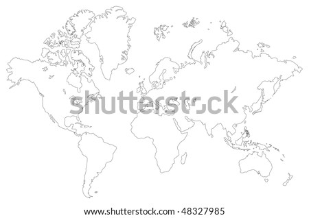 Vector outlined low detail world map. Isolated on a white