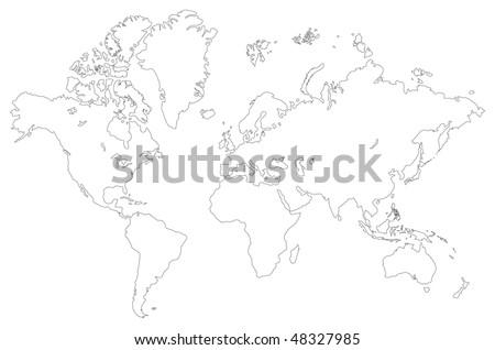 Vector del mapa del mundo del esquema blanco descargue grficos y vector outlined low detail world map isolated on a white gumiabroncs Gallery