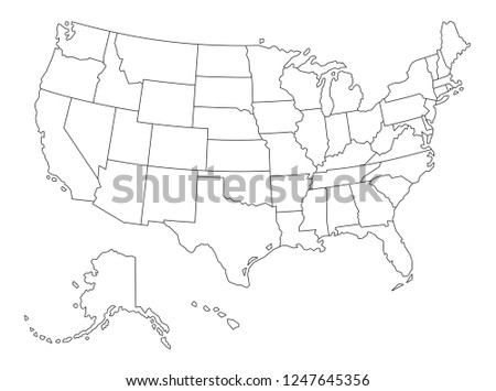 Vector Outlined map of The United States of America on white Background