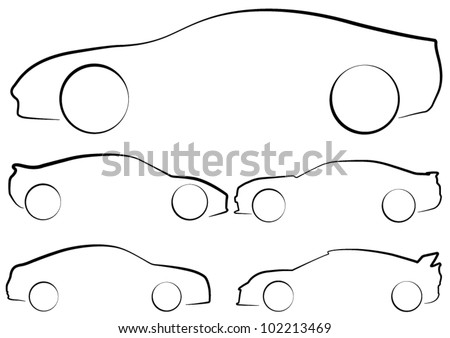 Vector Outlines of Sports Cars