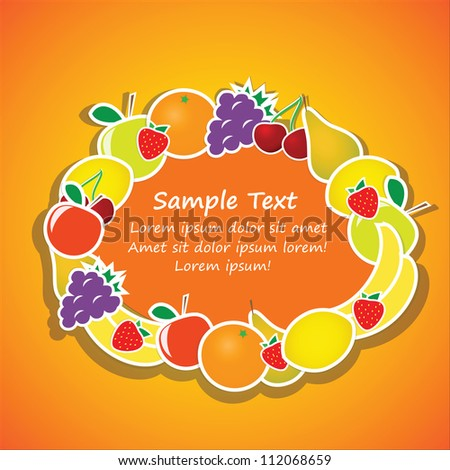Vector oval frame from fruits on orange background - stock vector