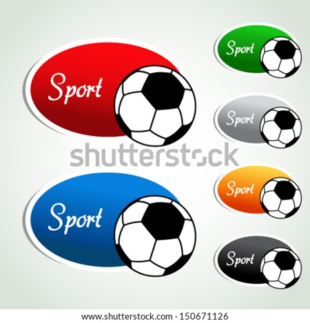 Vector oval sport labels - color sticker with soccer ball