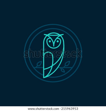vector owl icon in outline