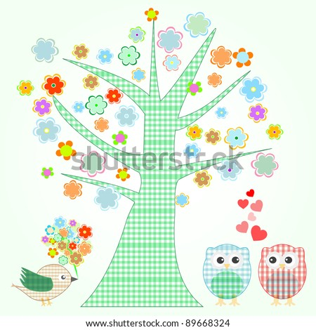 Vector owl in love and bird with flowers textile stickers