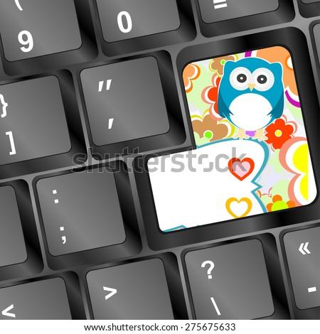 vector owl on computer keyboard