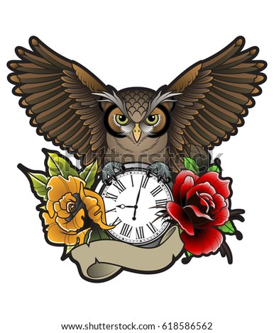 Vector Owl Tattoo Design