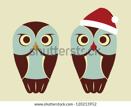 vector owls in red santa s hat