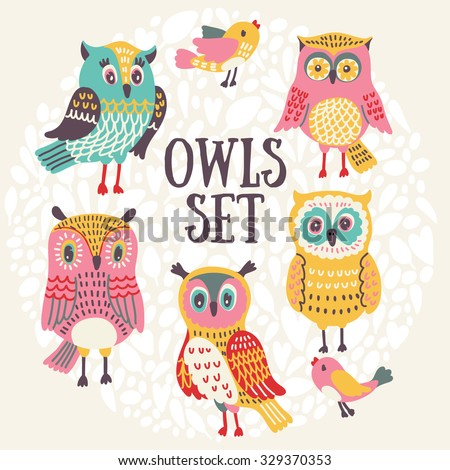 vector owls set cute owls and