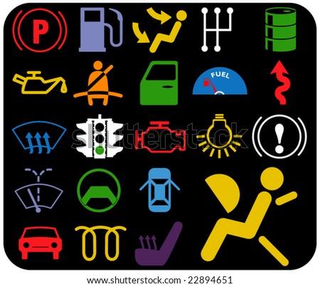 vector pack - car warnings - illuminated signs - part 2 of 2