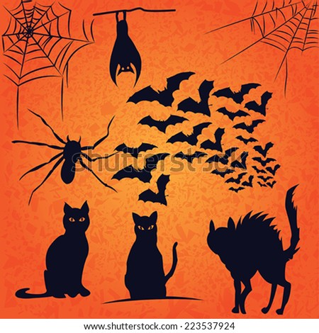 vector pack of bats cats spider