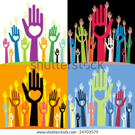 vector pack of happy volunteering hands representing love / valentine- part 3 (straight fingers with various heart shapes)
