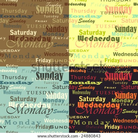 vector pack of seamless pattern week days (english) in 4 versions