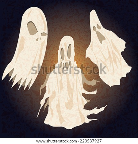 vector pack of three ghosts for