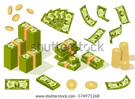Vector packages of banknotes in various angles. Pile of cash Isometric illustration with stack of golden coins. Hundreds of dollars in flat cartoon style