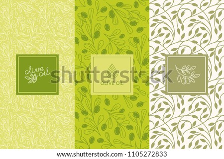 Vector packaging design elements and templates for olive oil labels and bottles - seamless patterns for background and stickers for natural, organic cosmetics, soap and beauty products