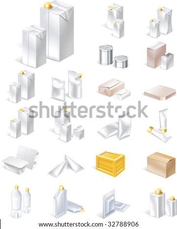 Vector packaging icon set - stock vector