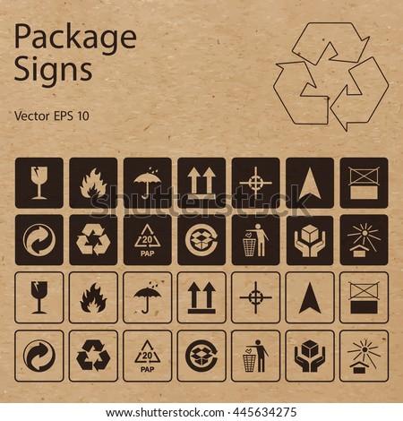 vector packaging symbols on