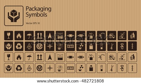 Vector packaging symbols set on cardboard background including Don't roll, litter, Clamp here, No hand- or forklift truck, Handling with care, Protect from radiation and other signs. Use on package