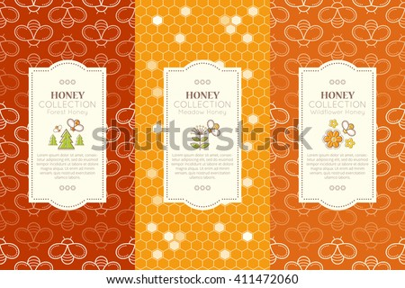 Vector packaging template with seamless patterns. Beekeeping collection (types of natural honey). Warm color palette of golden tints