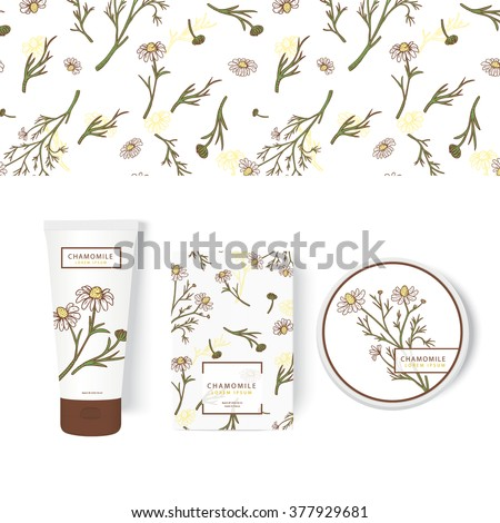 Vector packing concept with chamomile. Herbal labels for the jar, tube and box. Botanical set perfectly for packing design. Hand drawn herbs in woodcut style. Natural organic cosmetics. Easy editing.