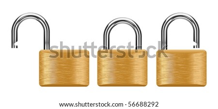 vector padlock set with clipping path included - stock vector
