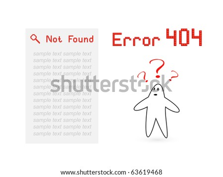 """Vector page """"Error 404"""" for web design in pixel art style"""