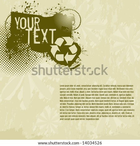 Vector page layout / flyer with space to add your own text; includes halftones and recycling symbol