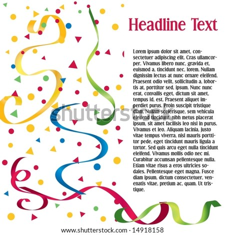 Vector page layout with confetti and streamers; space to add your own text