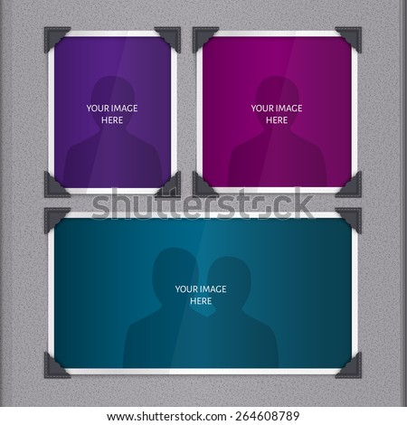 Vector page of photo album, with photo frames and corner.