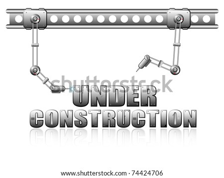 "Vector page ""Under Construction"" with two robots for web design"