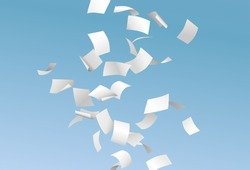 Vector pages or documents flying down in the wind with blue sky in the background