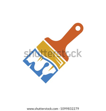vector paint brush illustration, paintbrush symbol - decoration design - drawing tool