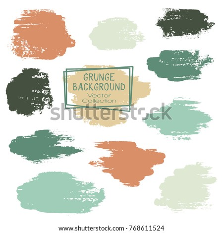Vector paint brush spots, hand painted backgrounds, set of watercolor dabs, ink splashes design. Brush stroke rough painted elements, splats, stains. Banner, tag or label watercolor backgrounds band. Сток-фото ©