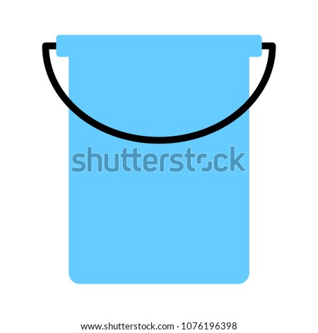 vector paint bucket illustration isolated, clean household equipment